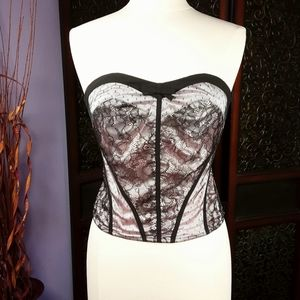 Baby Pink Satin/Black Lace Strapless Top - bebe